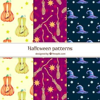 Conjunto de padrões decorativos de halloween aquarela