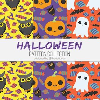 Conjunto de padrões decorativos de Halloween com bonitos personagens