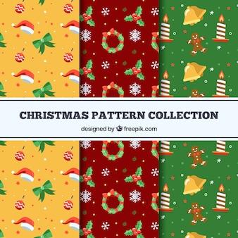 Conjunto de padrões decorativos de Natal