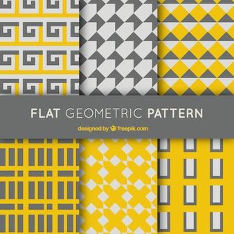 Conjunto de padrões geométricos cinza e amarelo
