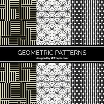 Conjunto de padrões geométricos com linhas