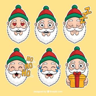 Conjunto de Papai Noel desenhado mão