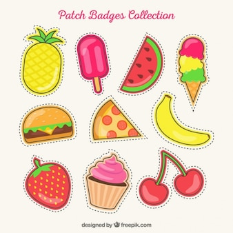 Conjunto de patches de verão desenhadas mão
