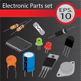 Conjunto de peças eletrônicas, estilo plano.