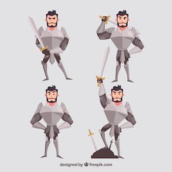 Conjunto de personagem de cavaleiro com armadura