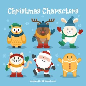 Conjunto de personagens de Natal engraçado