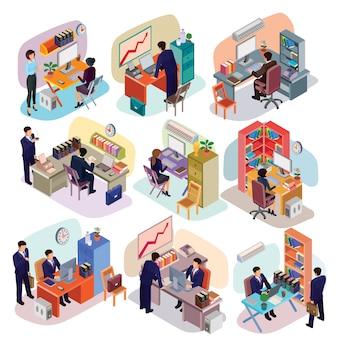 Conjunto de pessoas isométricas em roupas comerciais no escritório.