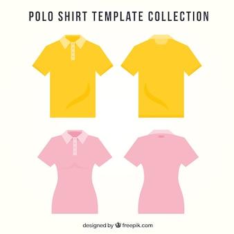 Conjunto de pólos masculino e feminino