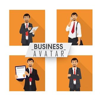 Conjunto de quatro Avatar de negócios.