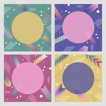Conjunto de quatro fundos abstratos em cores pastel.