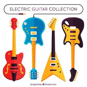 Conjunto de quatro guitarras elétricas em design plano