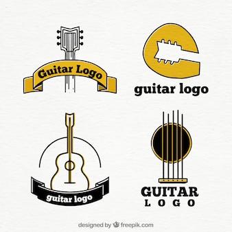 Conjunto de quatro logotipos de guitarra com detalhes em amarelo