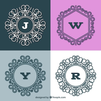 Conjunto de quatro monogramas elegantes