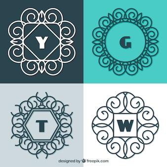 Conjunto de quatro monogramas ornamentais