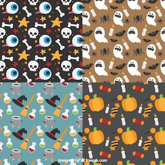 Conjunto de quatro padrões decorativos