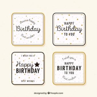 Conjunto de saudações de aniversário retro