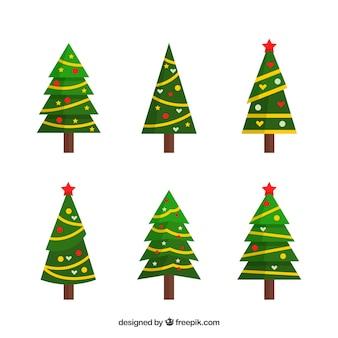 Conjunto de seis árvores de natal em design plano