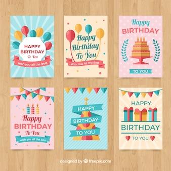 Conjunto de seis cartões de aniversário vintage em design plano