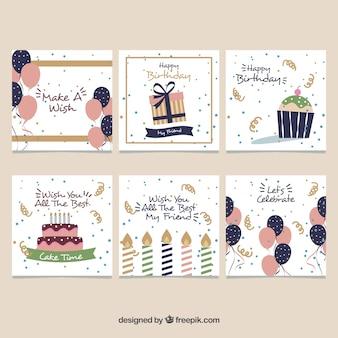 Conjunto de seis cartões de aniversário vintage