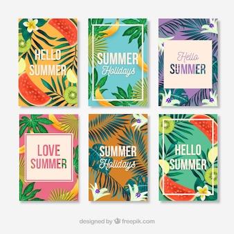 Conjunto de seis cartões de verão realistas