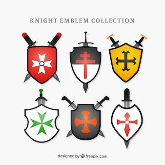 Conjunto de seis emblemas de cavaleiro