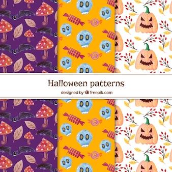 Conjunto de seis padrões de aguarela de Halloween