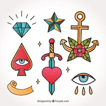 Conjunto de tatuagens simbólicas