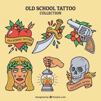 Conjunto de tatuagens vintage variadas