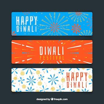 Conjunto de três bandeiras coloridas de diwali