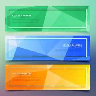 Conjunto de três banners coloridos geométricos