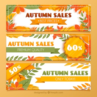 Conjunto de três banners de venda de outono