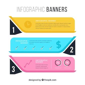 Conjunto de três banners infográficos coloridos
