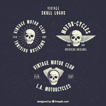 Conjunto de três logotipos do vintage com crânios