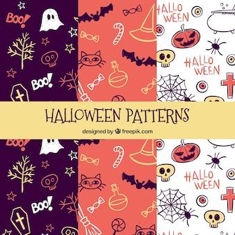 Conjunto de três padrões com desenhos de halloween