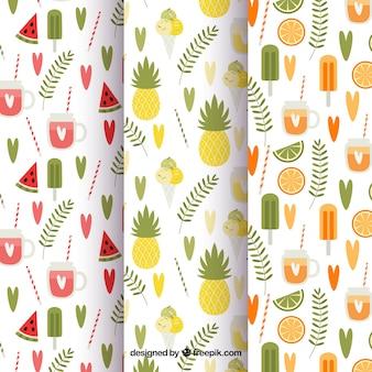 Conjunto de três padrões de verão em estilo vintage