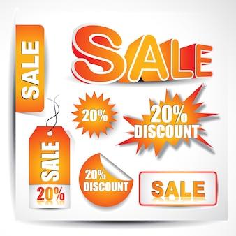 Conjunto de vetores das tags de venda