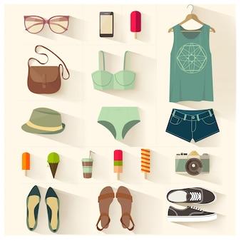 Conjunto de vetores de roupas