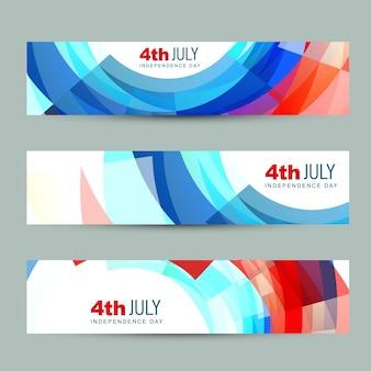 Conjunto de vetores do cabeçalho do dia da independência americana