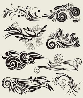 Conjunto de vetores livres de belos elementos florais