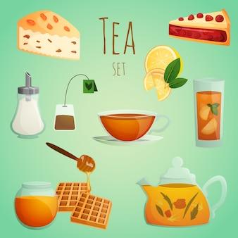Conjunto decorativo de chá
