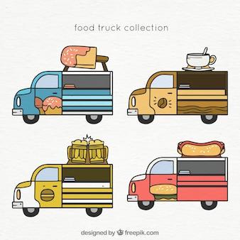 Conjunto desenhado à mão de caminhões de comida clássica