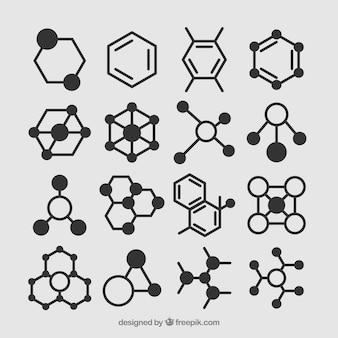 Conjunto desenhado à mão de moléculas