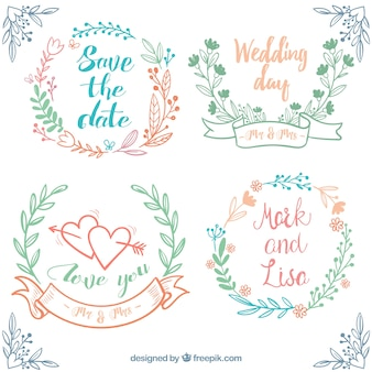 Conjunto desenhado mão de casamento quadros com decoração floral
