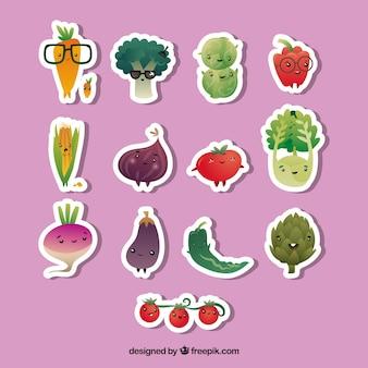 Conjunto divertido de adesivos vegetais