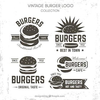 Conjunto do logotipo do hamburguer do vintage
