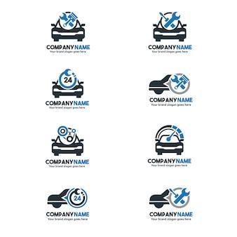 Conjunto do logotipo do serviço de carro, conjunto do centro de reparação do automóvel, Marca do serviço de carro