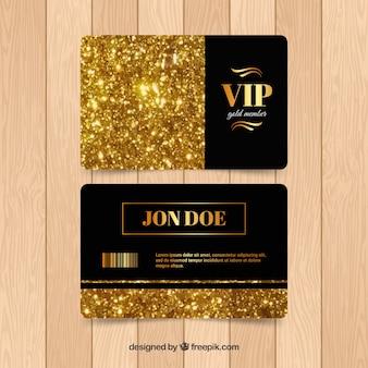 Conjunto dourado de cartões vip