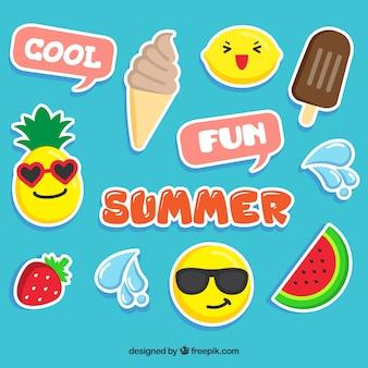 Conjunto engraçado de adesivos de verão