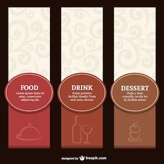 Conjunto label menu elegante restaurante
