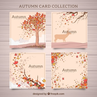 Conjunto moderno de cartões de outono desenhados à mão